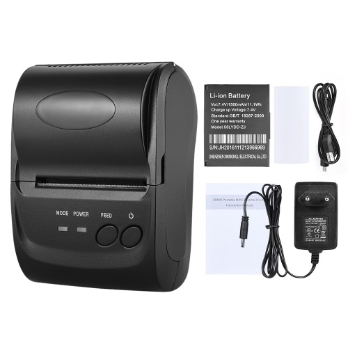 POS-5802LN Portale Mini 58mm 1 to 8 BT USB Thermal Printer Receipt Bill Ticket POS Printing