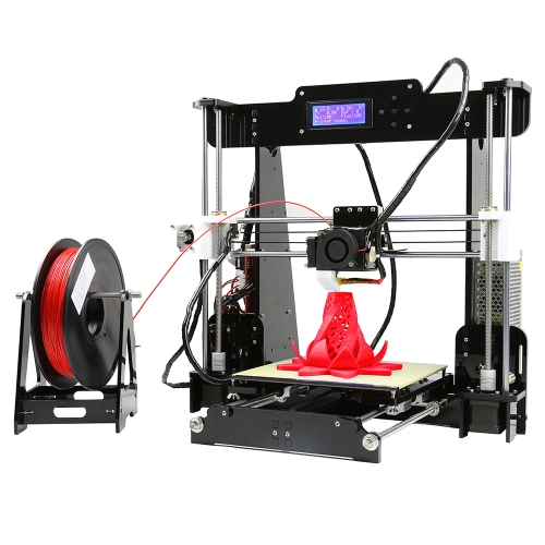 Anet A8 Upgraded High Precision Desktop 3D Printer Reprap Prusa i3 DIY Kits Self Assembly Acrylic Frame Printing Size 220*220*240mm Support ABS/PLA/HIP/PP/Wood Filament with 8GB Memory Card & 1 Roll of PLA Filament