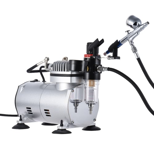 Airbrush Air Compressor Kit com Dual-action Gravity Feed Airbrush 0.3mm Bocal para modelo Tattoo Makeup Cake Decoração Pintura de arte corporal