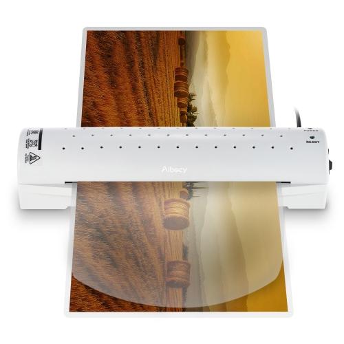 Aibecy A4 Zdjęcie / papier / dokument Hot Cold Laminator 2 rolki Szybkie rozgrzewanie Szybka temperatura laminowania Prędkość regulowana na zimno / 100 / 125mic Grubość kieszeni z przyciskiem zwalniania