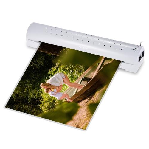 Aibecy A3 Photo / Paper / Document Laminador de frio a quente 2 rolos Aquecimento rápido velocidade de laminação rápida ajustável para frio / 100 / 125mic Espessura do saco com botão de liberação de liberação