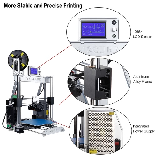 RAISCUBE A8R 3D Printer Aluminum Alloy Frame 210 * 210 * 225mm Print Size