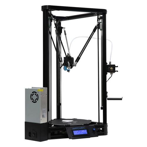 Anycubic Uaktualniony Kossel Linear Plus 3D Drukarka DIY Zestaw do automatycznego wyrównywania Duży rozmiar druku φ230 * 300 mm Zintegrowana płyta główna Bezpieczna moc z ogrzewanym łóżkiem 1KG Czarny PLA Filament, łatwy w montażu