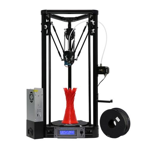 Anycubic Uaktualniona drukarka Kossel Pulley 3D Drukarka DIY Automatycznie wyrównywanie Duży rozmiar druku φ180 * 300mm Zintegrowana płyta główna Bezpieczna moc z ogrzewanym łóżkiem 1KG Czarny PLA Filament, łatwy w montażu