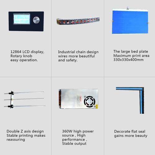 TOMTOP / Tronxy X5S DIY 3D Printer Kits Dual Z Axis Large