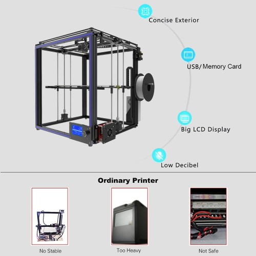 Tronxy X5S DIY 3D Printer Kits Dual Z Axis Large Print Size 330 * 330 * 400mm with LCD12864 Screen M