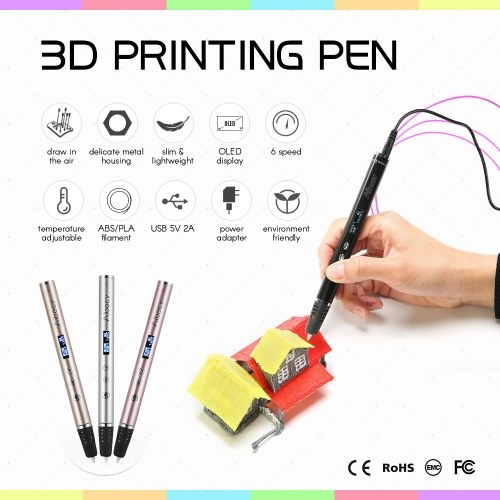 Aibecy RP900A 3D Printing Pen OLED Display Metal Housing CE & FCC & ROHS & EMC Approved
