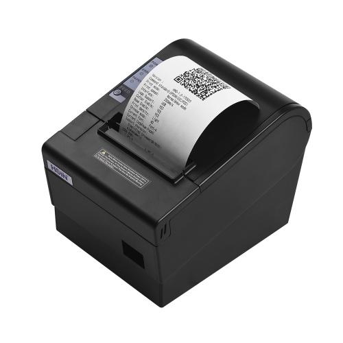 HOIN 80mm USB-Thermo-Empfangs-POS-Drucker Auto-Cutter-Hochgeschwindigkeitsdrucker Klarer Druck kompatibel mit ESC / POS-Druckbefehlen für Supermarktgeschäft Hauptgeschäft