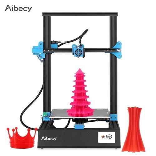 Aibecy M18 Pro Desktop 3D Stampante Kit fai da te 300 * 300 * 400mm Formato stampa Supporto Avanzamento automatico livellamento Riprendi Stampa con Touchscreen da 3,5 pollici Scheda 8G TF e 10m Bianco PLA Esempio di filamento