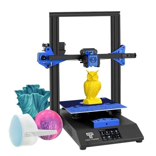 ZWEI BÄUME BLUER 3D-Drucker DIY-Kit Blechstruktur Stummdruck 235 * 235 * 280 mm Bauvolumen Hochpräzise mit 3,5-Zoll-Touchscreen-Heizbett Lebenslauf Druckfilament-Auslauferkennungsfunktion 4G TF-Karte PLA-Probenfilament 10 m