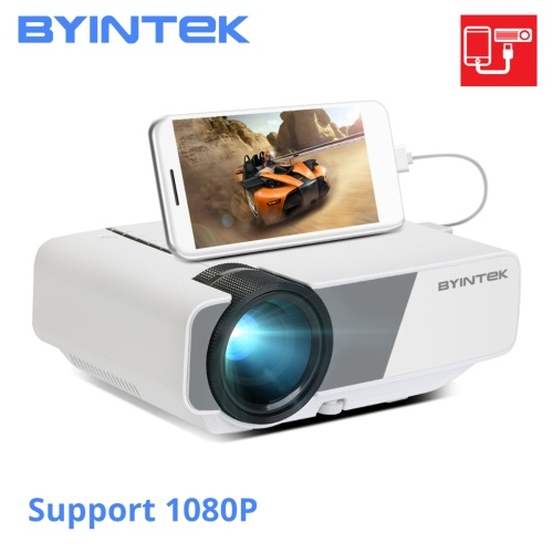 BYINTEK SKY K1plus Mini Projector 1080P Supported 160 ANSI Lumens 200 Inch Projection Size Home Theater Video Projector Wired Sync Display Compatible Smartphone PC Laptop for Home Office Business Entertainment Gaming