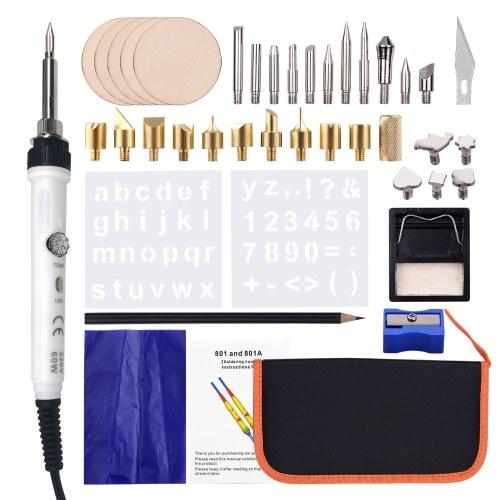 Набор из 45 инструментов для выжигания по дереву Ручка для пирографии Регулируемая температура от 150 до 450 ℃ для начинающих Взрослые Выжигание по дереву Резьба Тиснение Пайка