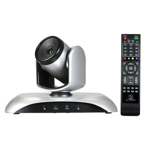 Aibecy 1080P HD-Videokonferenzkamera 10X Optischer Zoom Weitwinkel-Webcam Unterstützt H.264 Hard Compression 355 ° Drehung Plug & Play mit Fernbedienung für Videotreffen Schulungsunterricht