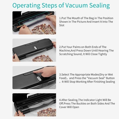 QH-10 Food Saver Vacuum Sealer Machine Bag Sealer with LED Indicator Lights Vacuum Bags Long Seal Design Strong Suction for Dry  Moist Food