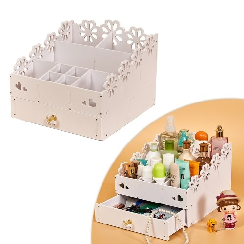 Multifunctional Makeup Organizer Wood Cosmetic Holder Tray Jewlry Box with Drawer Colorful