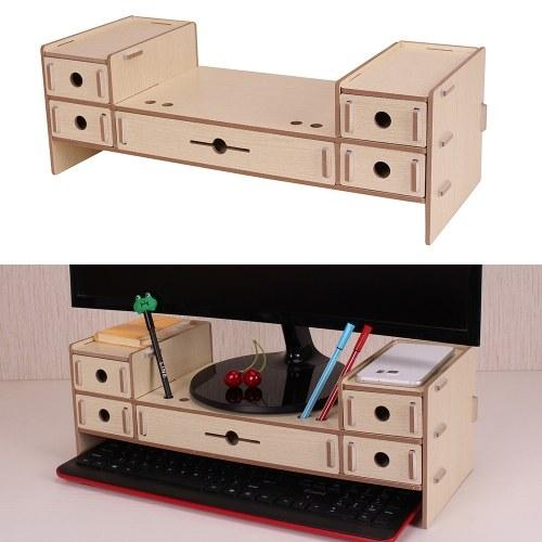 5 Schubladen Monitor Stand Riser Desktop Organizer mit Tastatur Speicherplatz für Büro Schulbedarf