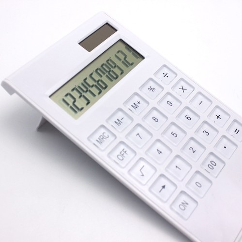 Desktop Calculator Ultra-thin 12 Digits Large Display Solar & Battery Dual Power Crystal Buttons Basic Counter