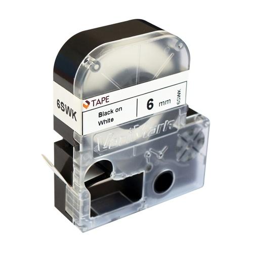 VariMark Ruban d'étiquettes de gaine thermorétractable imprimable Ruban de rechange Lable Maker noir sur blanc 0,24 po (6 mm) x 6,6 pi (2 m) Étanche et résistant à l'huile