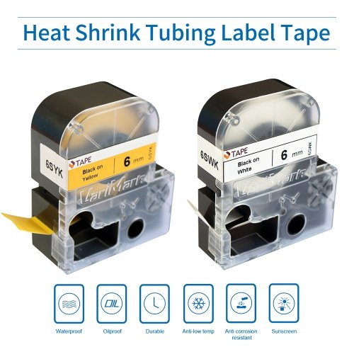VariMark Printable Heat Shrink Tubing Label Tape Replacement Lable Maker Tape Black on White 0.24 Inch(6mm)x6.6 Feet(2m) Waterproof and Oil-Proof