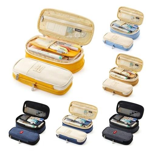 Large Capacity School Pencil Case Stationery Zipper Pocket Office Storage Multilayer Storage Pocket