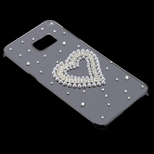 Luxo Glitter 3D bonito artesanais cristal Bling diamante transparente clara PC caso difícil para Samsung Galaxy S6 de borda mais 5,7