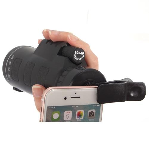 Universal Phone photo Camera Lens 10 * 40 Télescope monoculaire avec clip niveau faible luminosité Night Vision pour iPhone 6 6S plus Samsung Smartphone