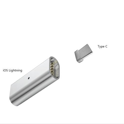 Magnetische Ladekabel Adapter iOS Blitz 8-polige Buchse für Typ C Stecker Data Line Converter
