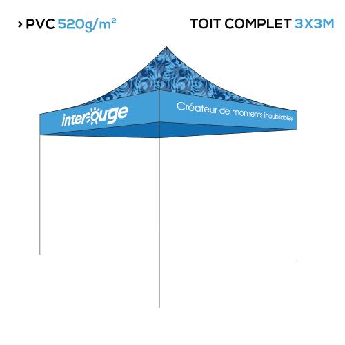 Tente pliante publicitaire 3x3m structure + toit personnalisé impression numérique - 3 gammes