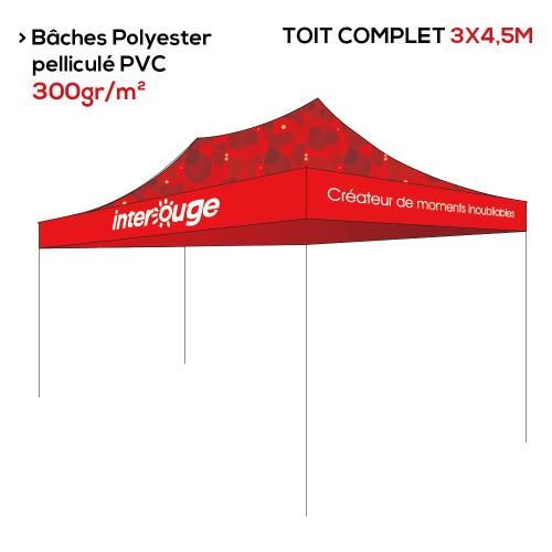 Tente pliante publicitaire 3x4.5m structure + toit personnalisé impression numérique - 3 gammes