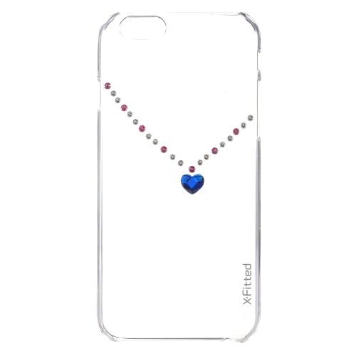 Original X-Fitted luxo protetora clara volta caso placa pára-choques telefone Shell difícil cobrir com Swarovski Rhinestones chapeamento projeto para iPhone 6 6S 4.7 polegadas