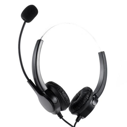 VH500D Professional Téléphone Headset Clear Voice Noise Cancellation avec Adaptateur casque pour Call Center Téléphone numérique