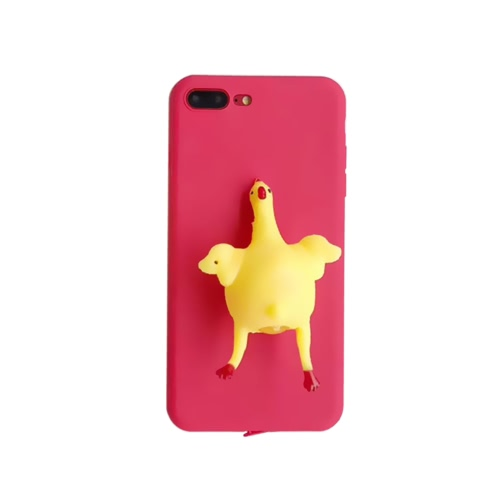 Engraçado Cute Lovely 3D Chicken Lay Egg Squishy Cover Reduzir o Stress Antiskid Phone Case Shell Compatível para Iphone6 ​​6Plus Iphone7 7Plus