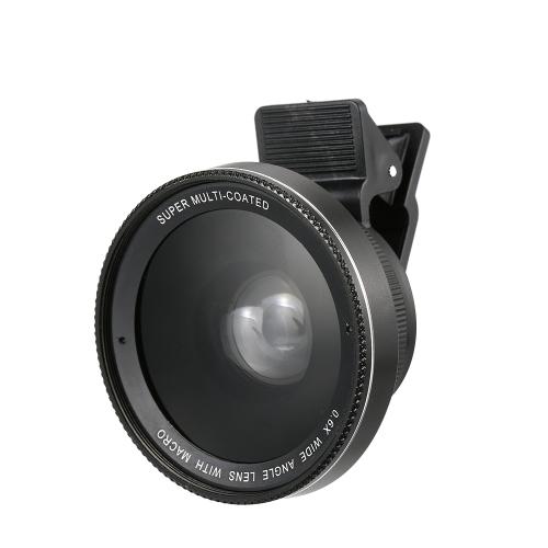 Lente do telefone lente 0.6x / 0.45x Super Angular + lente macro Lente da câmera do smartphone Destacável Clip-on 2 em 1 lente do telefone móvel Kit de lente da câmera