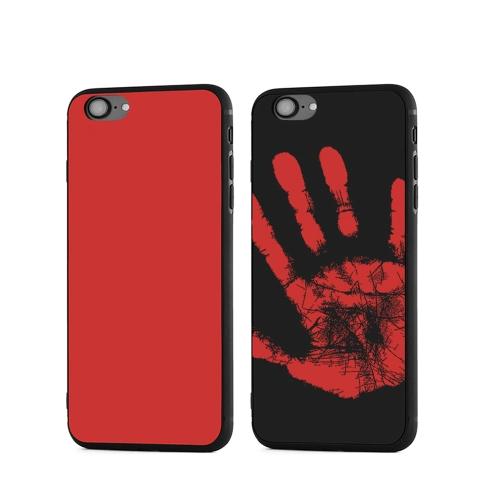 Mode Creative Intéressant Induction Capteur Thermique Décoloration de la Chaleur Magique Téléphone Retour Cas Couverture Souple pour iPhone 6 Plus / 6 s Plus Rouge