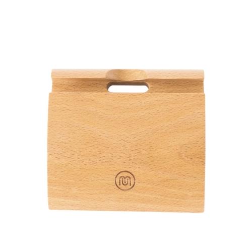 Meki elegante portatile a forma di coma in legno di faggio eco-friendly materiale antiscivolo supporto del telefono supporto dock station culla per iPhone smartphone