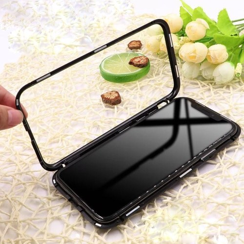 Metal-rimmed Mobile Phone Case Hardened Glass Magnetic Adsorption Protection Smartphone Cover Bumper Luxury Aluminum Frame Cases for Iphone X