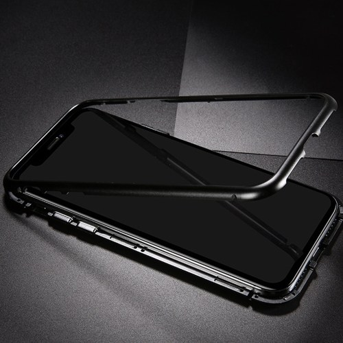 Metal-rimmed Mobile Phone Case Hardened Glass Magnetic Adsorption Protection Smartphone Cover Bumper Luxury Aluminum Frame Cases for Iphone 7P