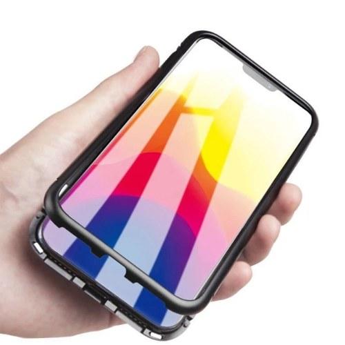 Magneto magnetischer Adsorptionskasten Klares gehärtetes Glas Rot i-phone XS max
