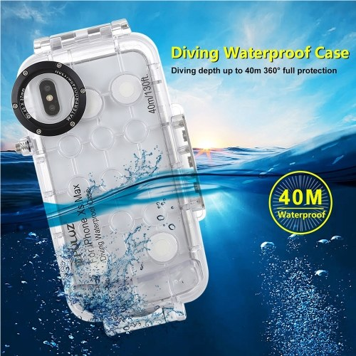 PULUZ 40м / 130ft Дайвинг Водонепроницаемый чехол Защитный чехол для смартфона Подводный чехол Корпус Ударопрочный 360 ° Полная защита для i-Phone XS Max / XR фото