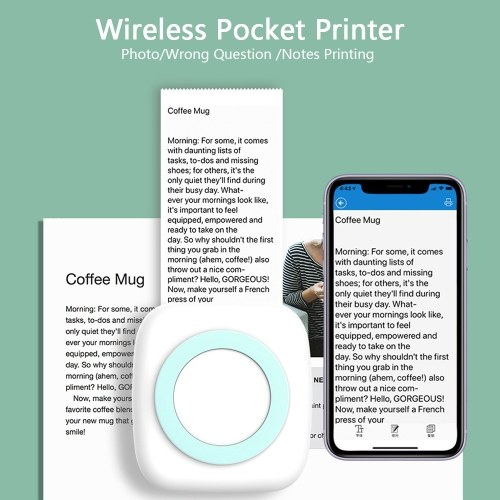 Mini Thermal Printer Wirelessly BT Portable Pocket Photo Label Memo Wrong Question Printing with 4 Rolls Paper