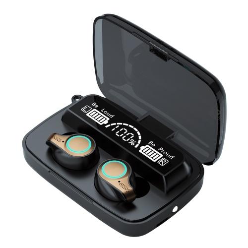 Fones de ouvido sem fio M18 BT5.1 Emparelhamento automático IPX7 à prova d'água 2000mAh caixa de carga com três telas de exibição de energia Powe Bank