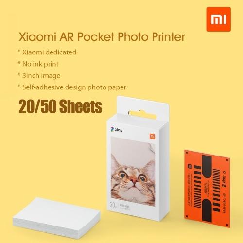 Xiaomi Pocket Print Photo Paper Printer Self-Adhesive Photo Paper 20/50 Sheets Sticky-Backed Photo Paper for 3-inch Mini Pocket Photo Printer