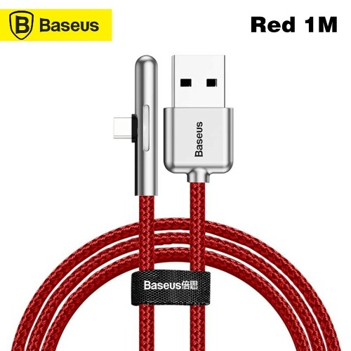 Baseus T-Shape Angled Nylon Cable USB Type C Cable HW Dash Charge Type-C Game Data Cable 4A 40W For Huawei Super Charge Data Cable With LED Light