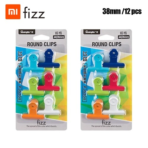 Xiaomi Youpin Fizz Color Round Tickets Plastic Metal Clip Size Six Color Mixed Portable Business Office Study Stationery