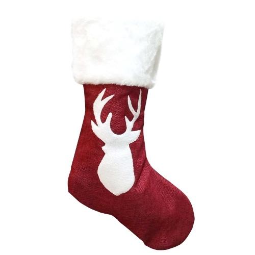 Meia de Natal Presente Tecido Papai Noel Meia Presente para Crianças Doces Saco Boneco de neve Veado Bolso Enfeites pendurados Árvores de Natal