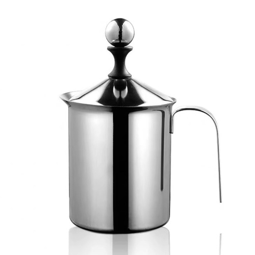 Manual Milk Creamer Hand Pump Frother Frothing Pitchers 304 Stainless Steel Hand Pump Milk Frother Manual Operated Milk Foam Maker for Cappuccino Latte Coffee Foam Pitcher with Handle Lid Double Layer Filter Screen Stainless Steel 400ML