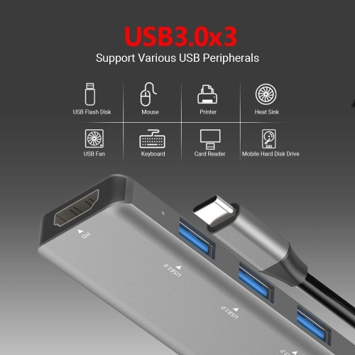 T510 5 in 1 Hub Type-C To USB3.0*3+PD+HD Intelligent USB Hub Multi-port Adpater for Laptop Computer Mobile Phones Gray