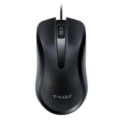 T-WOLF V12 USB-оптическая проводная мышь с Easy Click Эргономичный дизайн 1000 точек на дюйм Premium и портативные компьютерные мыши, совместимые с настольными компьютерами для ноутбуков с Windows для офиса и дома