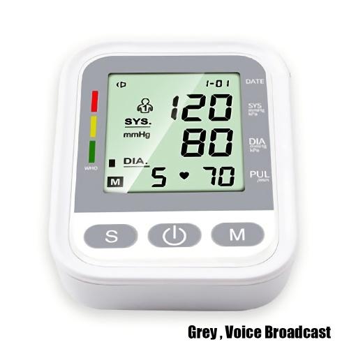 Arm Elektronisches Blutdruckmessgerät Tragbares Blutdruckmessgerät Herzfrequenzalarm mit automatischer digitaler LCD-Anzeige Intelligente Druckbeaufschlagung Voice Broadcast Intelligentes Blutdruckmessgerät