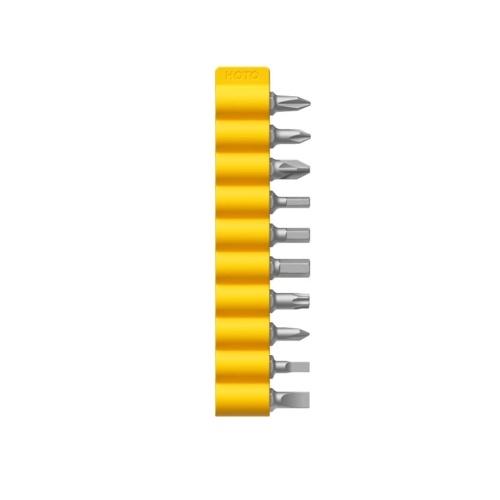 Juego de puntas de destornillador magnético HOTO puntas de repuesto Phillips / ranurado / hexagonal / Torx juego de puntas de acero de aleación de 10 piezas